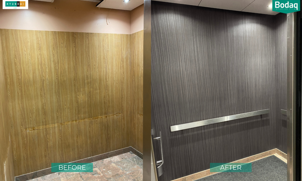 Before and After elevator refinishing with Bodaq