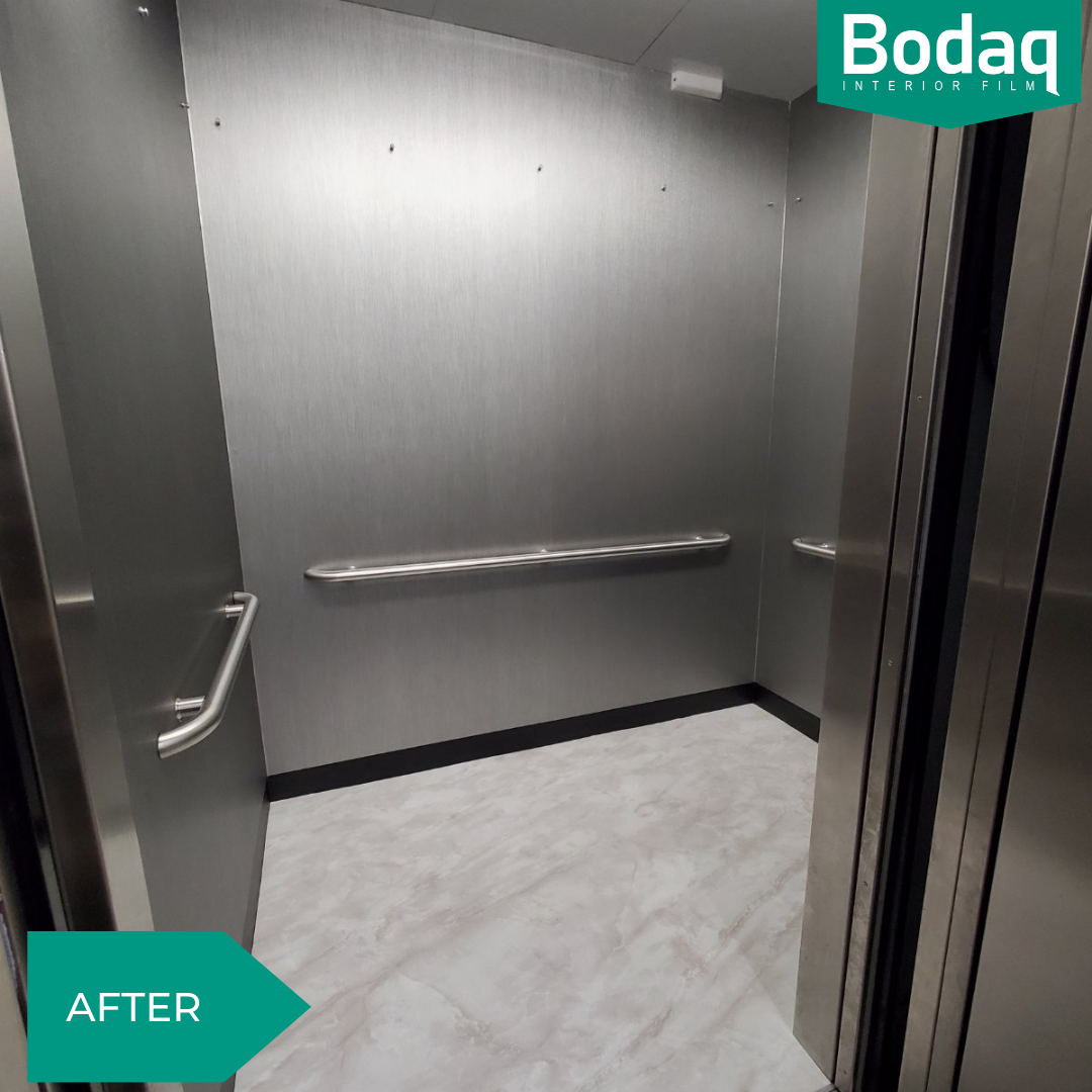 Elevator enclosure refinishing (wall panels, ceiling, and floor) - AFTER