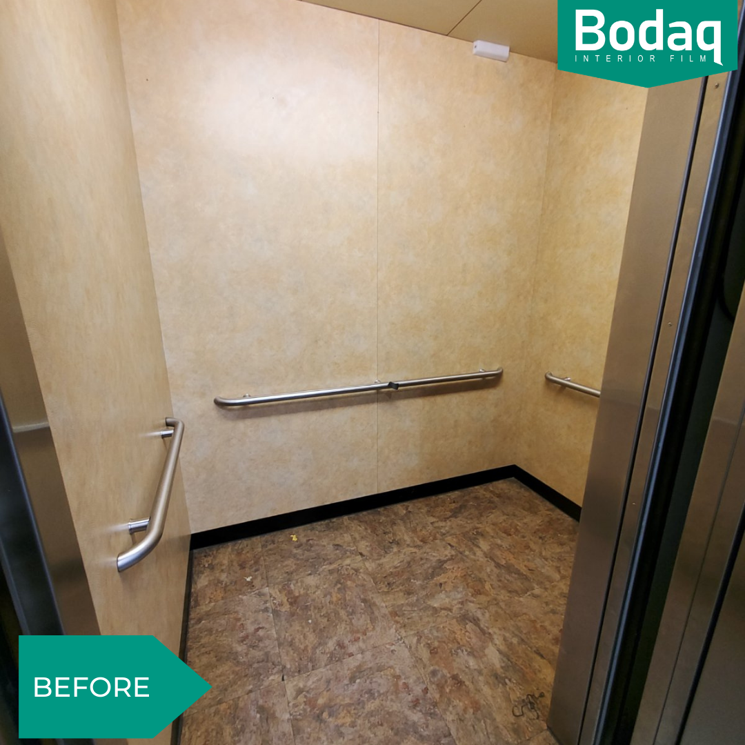 Elevator enclosure refinishing (wall panels, ceiling, and floor) - BEFORE