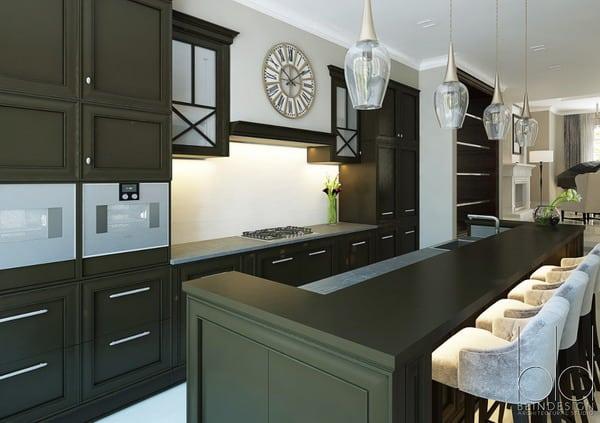 green matte kitchen