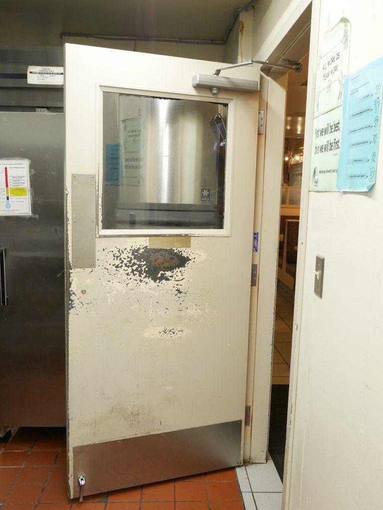 Door before refinishing
